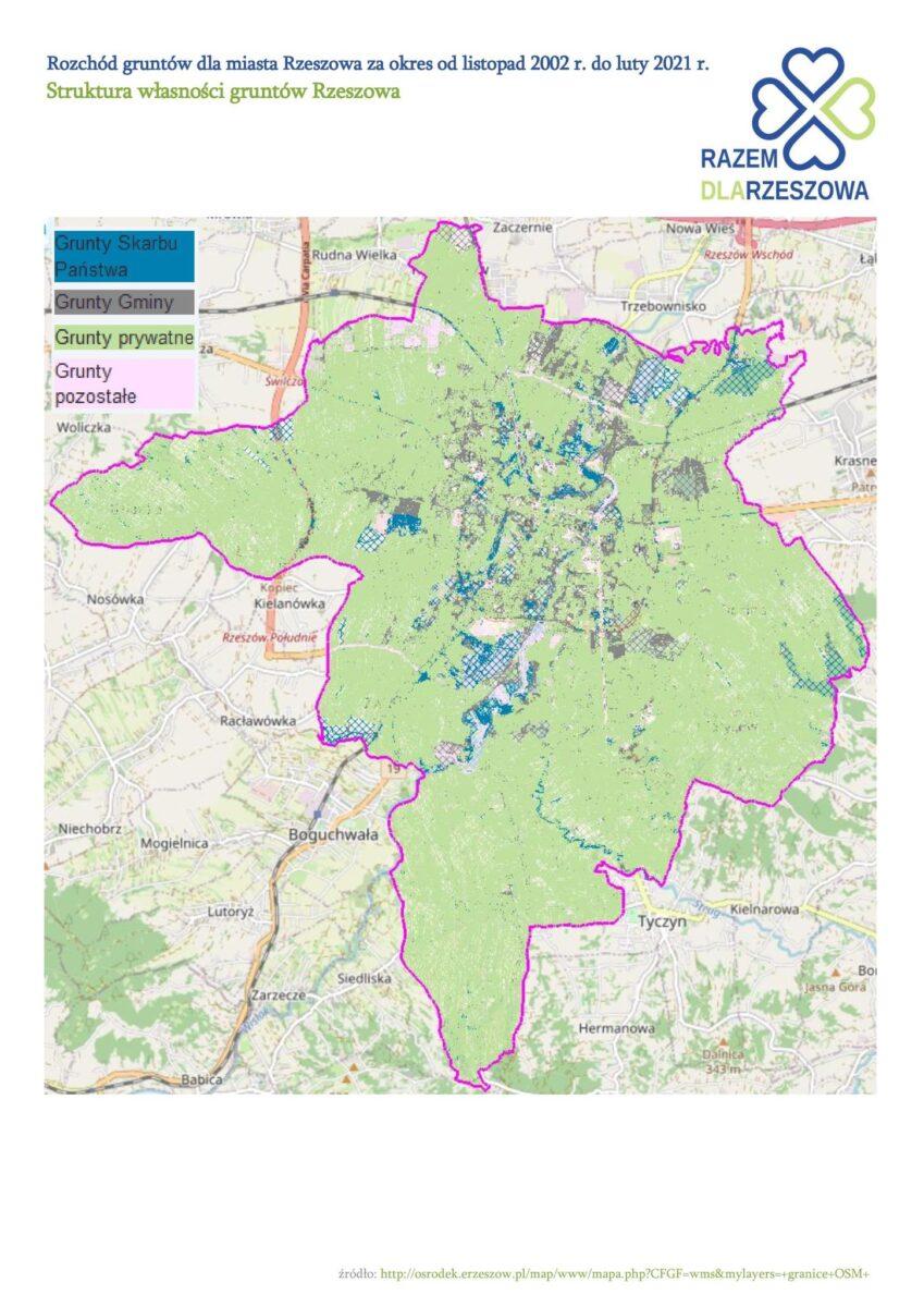 Co się stało z ponad pięciuset  hektarami miasta Rzeszowa?